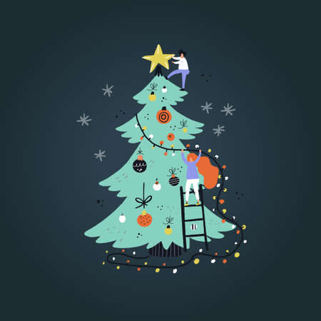 Flat style vector illustration of Christmas concept. Girl decorating Christmas tree.