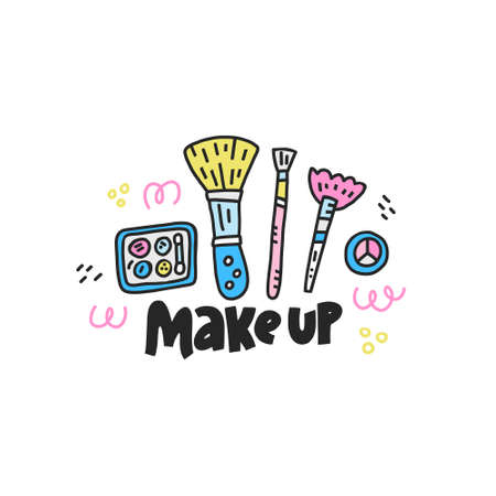 Doodle illustration with cosmetics symbols. Cute vector art.
