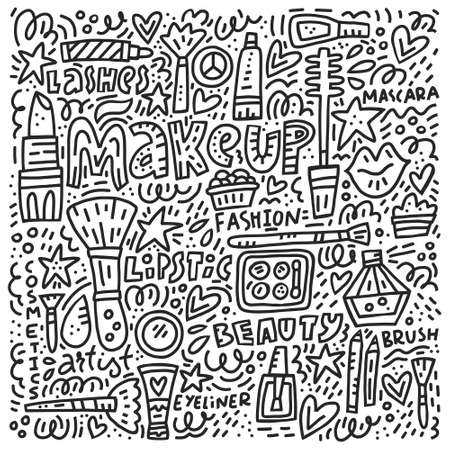Black and white doodle illustration with lots of cosmetics and make up onjects perfect for fashion blog background 스톡 콘텐츠 - 110466420