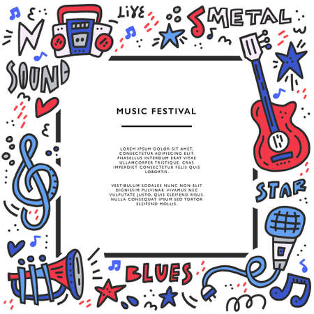 Square frame with different music symbols with place for text. Perfect music festival banner template. Stock Illustratie
