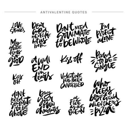 Colección de citas de letras de pincel sobre refranes anti-valenting. Póster para solteros con el corazón roto.