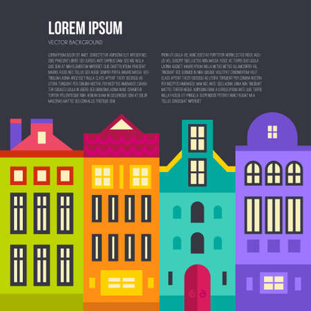 Flat illustration with different houses. Amsterdam skyline.