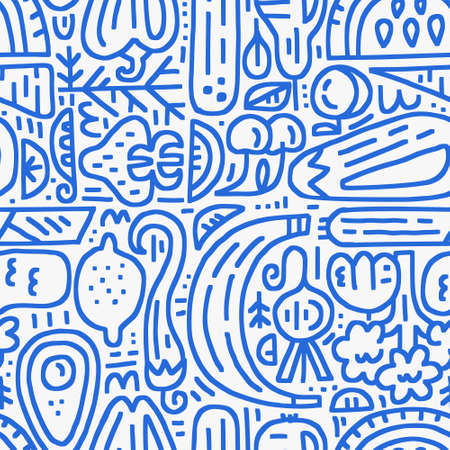Fruits and veggies two-color seamless pattern. Organic and healthy food design. Vector illustration for ads, invitations, menu and web banner designs.