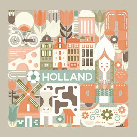 Illustration vectorielle avec différents symboles de la Hollande réalisés dans un style vectoriel moderne. Notion carrée.
