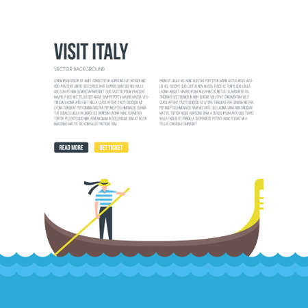 Flat illustration of gondola in venice with place for text. Vector concept