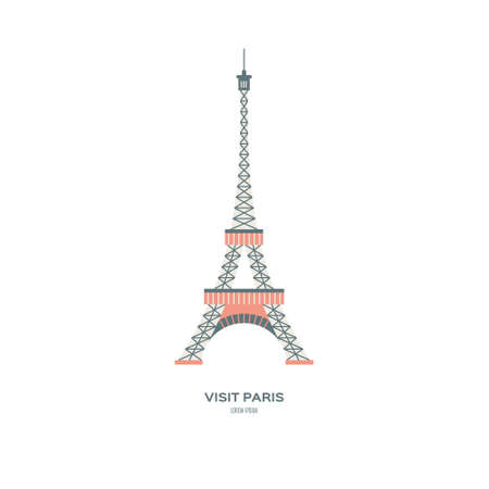 Flat illustration of eiffel tower in Paris. Vector concept