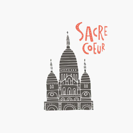 Hand drawn ilustration with symbol of sacre coeur Paris, France made in vector