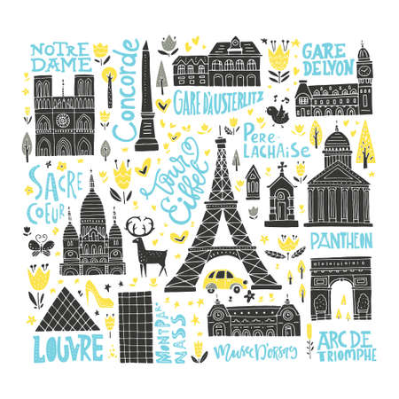Collection of Paris tourist attractions. France symbols clipart set.