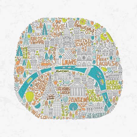 Mapa único dibujado a mano de París con las principales atracciones turísticas y letras. Ilustración de vector