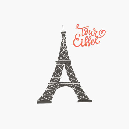 Hand drawn vector illustration of tour eiffel - symbol of Paris and love. Ilustracja