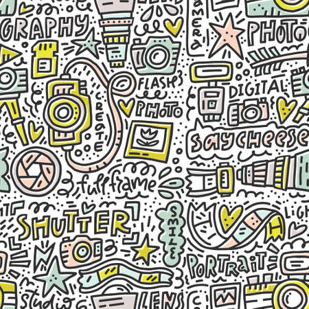 Seamless pattern with symbols of photography - camera, lens, flash. Vector doodle illustration Illustration