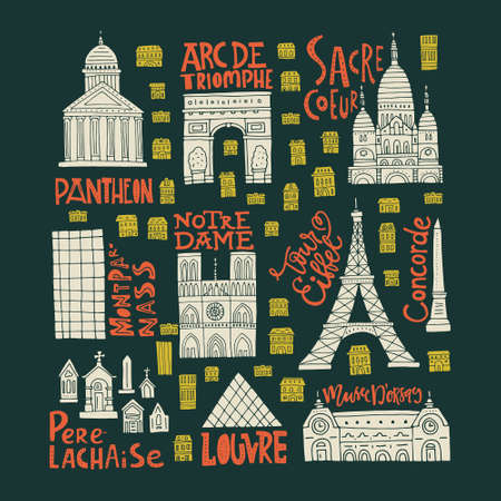 Clipart collection with Paris symbols