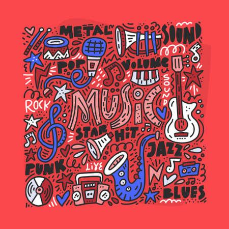Conjunto de símbolos musicales dibujados en estilo doodle. Ilustración vectorial Ilustración de vector