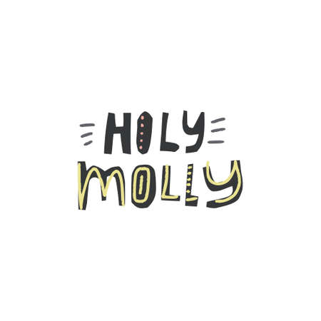 Unique lettering cut out from actual paper. Vector quote Holy Molly