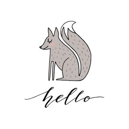 Ilustración de dibujado a mano lindo de un zorro con frase hola. Gran arte vectorial para guardería o habitación infantil.