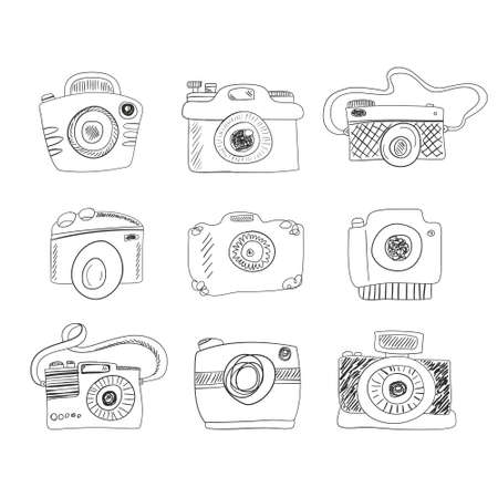 Sketch photocamera set made in vector. Camera icon doodle style. Photography symbols drawn by hand. Illustration