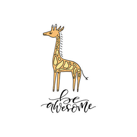 Cute hand drawn illustration of a giraffe with phrase everything is possible. Great vector art for nursery or childrens room.