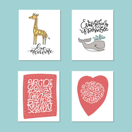 Collection of cute vector posters for nursery with animals and phrases drawn by hand. 일러스트