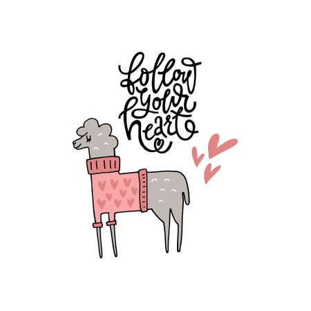 Cute hand drawn illustration of a llama with phrase follow your heart. Great vector art for nursery or childrens room.