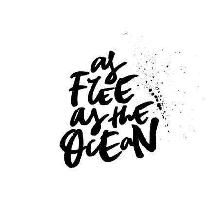 Quote as free as the ocean Illustration