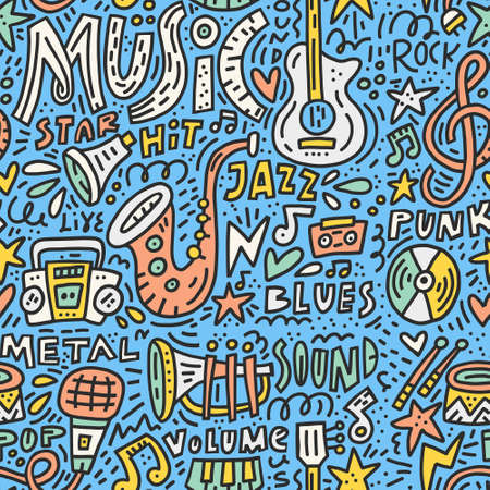 Doodle style illustration with music symbols. Seamless pattern with different musical symbols.