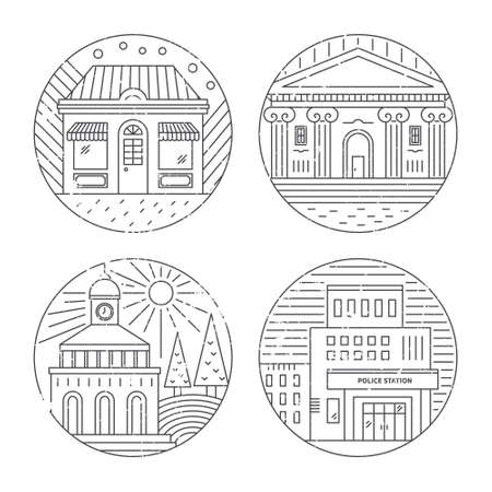 Vector illustration of different govenmental buildings including polica station, museum. Trendy line style vector illustration. City architecture concept. Government buildings. Illustration