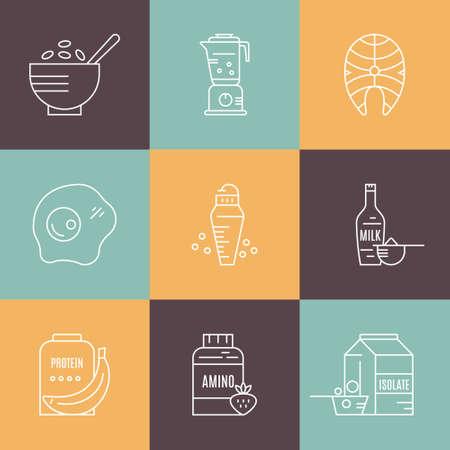 Sammlung von Ikonen mit Sporternährungsobjekten. Gesundes Essen. Symbole für Fitness- und Trainingsdiäten aus Vektor - Protein-Shake, Aminopulver.
