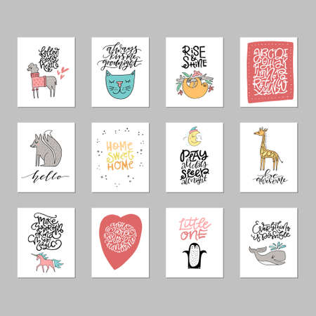 Sammlung von niedlichen Vektorplakaten für Kinderzimmer mit Tieren und Phrasen, die von Hand gezeichnet werden.