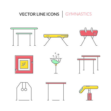Thin line vector icon set with Artistic gymnastics equipment and elements. Athlete or gymnast icon collection. Unique and modern set isolated on background.