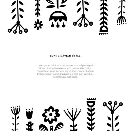 Collection of different folk art elements made in vector. Unique isolated drawings with nordic motives.
