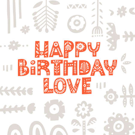 Beautiful birthday card made with decorative font with scandinavian motives. Folk art poster. Vector illustration with lettering.