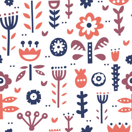 Seamless pattern with scandinavian style ornaments, florals and leaves. Folklor motives and nordic design. Vector background.