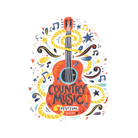 Illustrazione con chitarra acustica e scritte a mano. Ottimo elemento per festival musicali o t-shirt. Concetto di vettore.