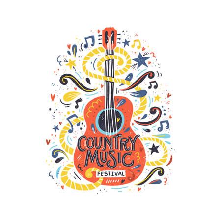 Ilustración con guitarra acústica y rotulación a mano. Gran elemento para festival de música o camiseta. Concepto de vector.