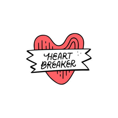 Fun vector illustration with heart and sign heartbreaker. Great for girl badges and patches. Иллюстрация