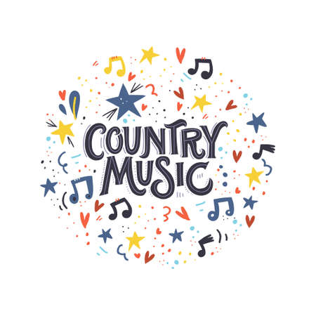 Lettering concept with words Country Music and notes with stars around it. Vector illustration. Illustration