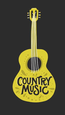 Acoustic guitar with lettering country music inside.  Great element for music festival or t-shirt. Vector concept.