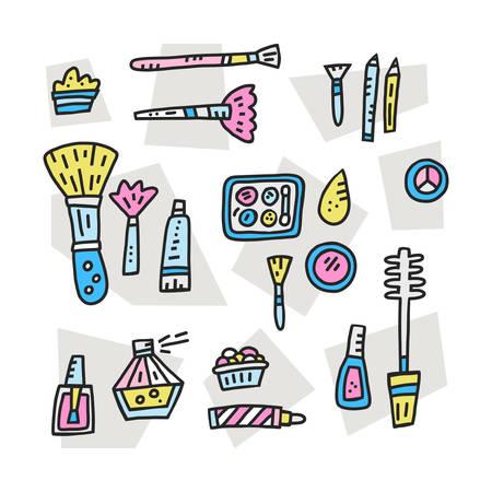 Doodle illustration with cosmetics symbols. Cute vector art.