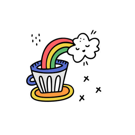 Cartoon style vector illustration with rainbow pooring into coffee mug. great design element for sticker, patch or poster. Unique and fun drawing. Illustration