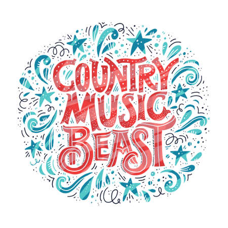Poster with lettering Country Music Beast. Vintage style typography made in vector. Element for music festival or t-shirt. Illustration