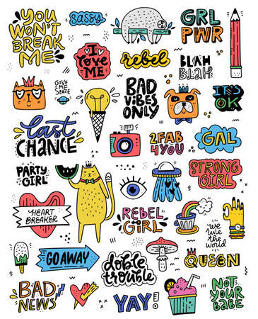 Fashion patch set with comic illustrations and lettering. Big collection of sarcastic quotes and cute characters. Illustration