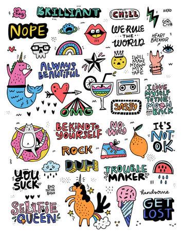 Verzameling illustraties in cartoonstijl met letters en leuke illustraties - perfect voor stickers en patches. Doodle set gemaakt in vector.