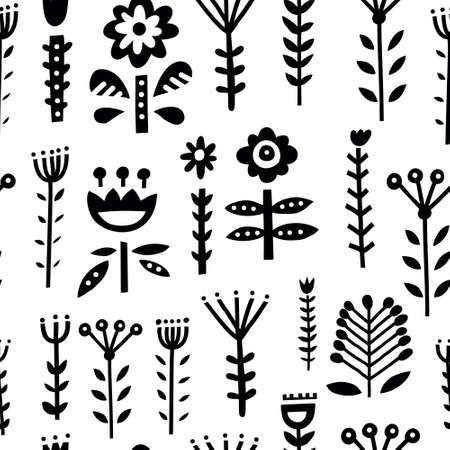 Seamless pattern with scandinavian style ornaments, florals and leaves. Folklor motives and nordic design. Vector background. 写真素材 - 109456046