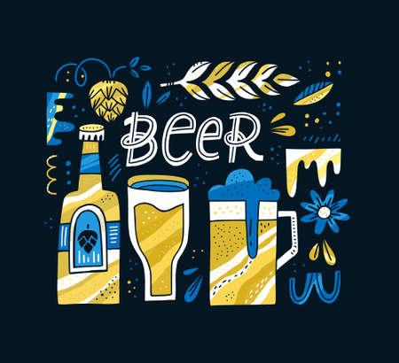 Handgezeichnetes Konzept mit Bierzitat und Symbolen wie Becher und Weizen. Vektorillustration. Plakat für Restaurant oder Okroberfest. Vektorgrafik