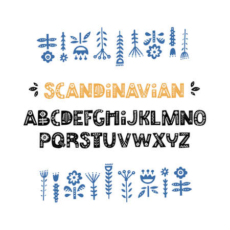 Creative font with folk motives - scandinavian. Ornate alphabet with florals inside. Vector illustration.