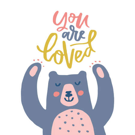 Cute illustration of a bear and lettering