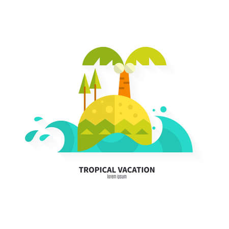 Illustration of an island made in flat style. Solitude and travel concept