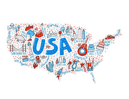 Map of United States in cartoon style. Travel USA concept.