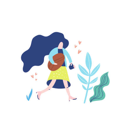 Hand drawn illustration of woman carrying coffee mug and giant coffee bean. Conceptual vector illustration. Иллюстрация