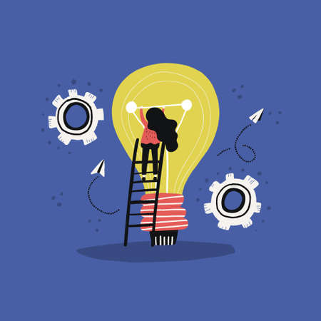 Group of people working around lightbulb - conceptual illustration for solving problems and creativity. Vector flat style drawing.